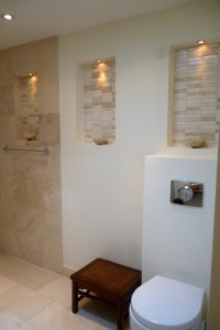 Bathroom showing wall niches