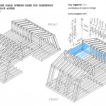 Technical structural diagram of double mansard roof and glazing infill