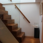 Side view of oak staircase and landing