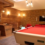 Pool table and banquette seating