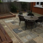 BBQ area, view of luxcrete panels and patio