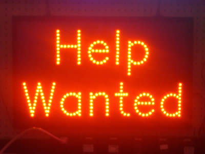 NEON help wanted sign